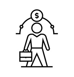 managers suitcase line icon concept sign outline vector image