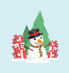 merry christmas snowman with a gift box vector image