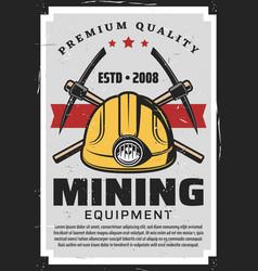 Miners equipment mining industry axe pick helmet vector