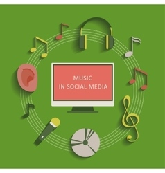 Musical social media background vector