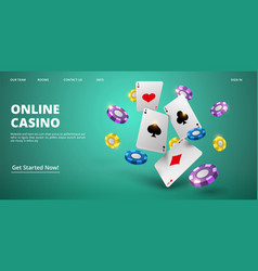 online casino landing page realistic cards vector image