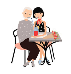 Pair of man and woman sitting at table vector