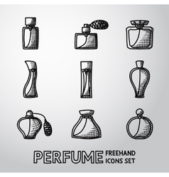 Perfume handdrawn icons set with different shapes vector image
