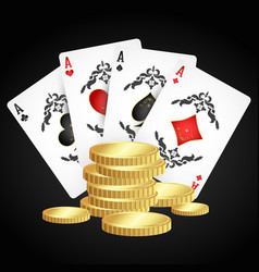 playing cards and gold coins vector image