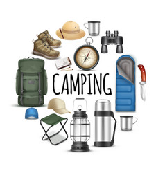 realistic camping round concept vector image
