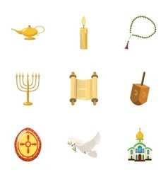 Religious faith icons set cartoon style vector