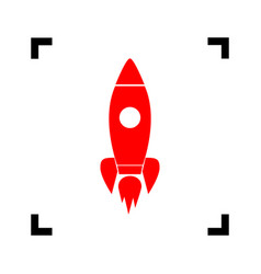 rocket sign red icon inside vector image