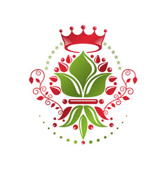 Royal symbol lily flower graphic emblem composed vector