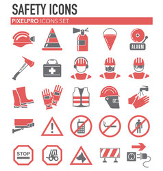 Safety red grey icons on white background for vector