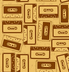 Seamless pattern of cassettes vector