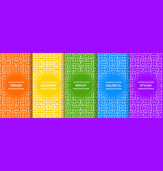 set bright colorful seamless geometric vector image