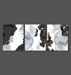 Set creative postcards with black watercolor vector