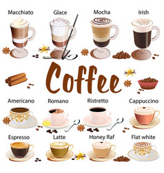 set different types coffee isolated on vector image