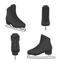 Set images with black skates for figure skating vector