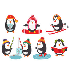 set isolated cute penguins vector image