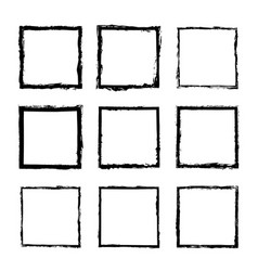 Set of square frames drawn 3 vector