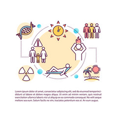 Skin cancer risk factors concept icon with text vector