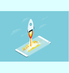 smartphone touchscreen mobile phone glows rocket vector image
