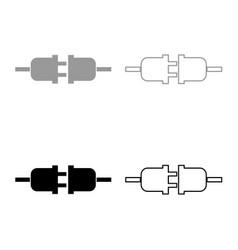 socket and plug icon set grey black color vector image