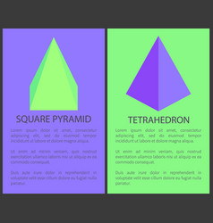 Square pyramid and tetrahedron geometric objects vector
