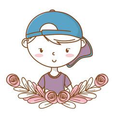 stylish boy cartoon outfit portrait floral wreath vector image