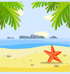Summer sunny beach banner with red starfish on vector
