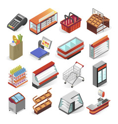 supermarket equipment and interior business design vector image
