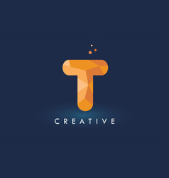 T letter with origami triangles logo creative vector