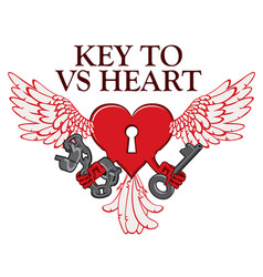 T-shirt design with lock in shape of winged heart vector