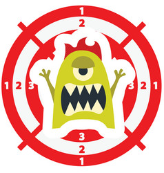 Target with monster flat style lime green color vector