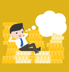 Tiny businessman lay on stack of gold coins vector