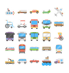 Transport flat icons pack vector
