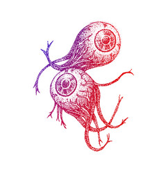 Two eyeballs colorful sketch vector