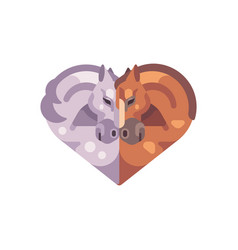 two romantic horses in the shape of a heart vector image