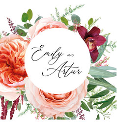 Watercolor wedding floral invite card floral roses vector