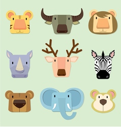 wild animals face vector image