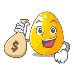 With money bag golden egg cartoon for greeting vector