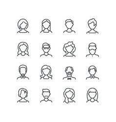 Woman and man face line icons female male profile vector