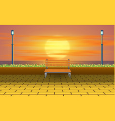 Wooden chair on beach in sunset vector