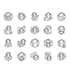 World business line icons global law translate vector