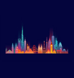 World skyline travel and tourism background vector