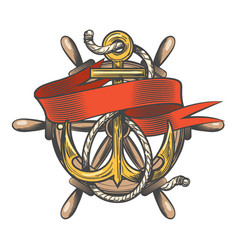 anchor with ribbon and steering wheel emblem vector image