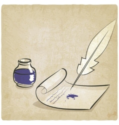 inkwell pen paper old background vector image vector image