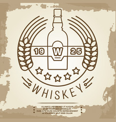 vintage whiskey label design - retro drink poster vector image vector image