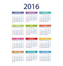 2016 calendar simple design date template month vector image vector image