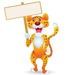 cartoon cheetah with blank sign vector image vector image