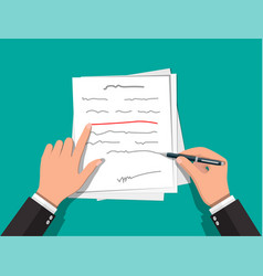 Hands of author with pen working on document vector