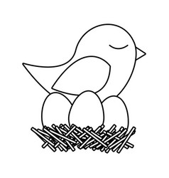 monochrome silhouette of bird in nest with eggs vector image vector image