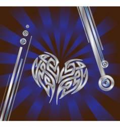 silver blue heart composition vector image vector image