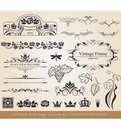 Vintage floral design elements vector image vector image